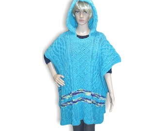 PDF Pattern Celtic Cable Poncho w Hoodie, knitting supply, Sweater Poncho, Knit Instruction for Blanket Poncho,  Knit Cables Diamond Brocade