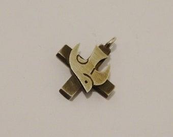 Vintage Sterling Silver Peace Dove Cross Pendant.