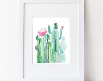 Watercolor Cactus - Blooming Cactus  - Cacti and Succulents - Watercolor Modern Natural Art Print - Pink Cactus Bloom