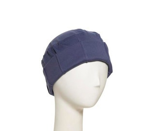Interlock knit FOLD-UP cancer hat with light padding and detailing in brim. Chemo cap designed for patients in chemotherapy with hair loss.