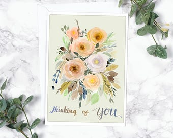 Modern Watercolor - Floral Card - Vintage Inspiration - Roses - Thinking of You notecard