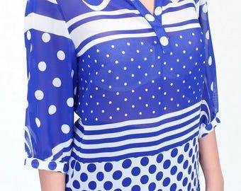 Sheer Chiffon Blouse Oversized Chiffon Shirt Blue Chiffon Blouse Print Chiffon Blouse Casual day wear