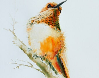 Hummingbird, Bird watercolor painting, Bird art, Art print size 8X10 inch for room décor & valuable gifts