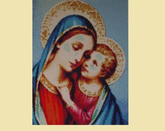 Madonna Mother Mary and Jesus Blue Diamond Painting Finished Completed Home Wall Decor Embroidery Cross Stitch Needlework Religion Mosaic