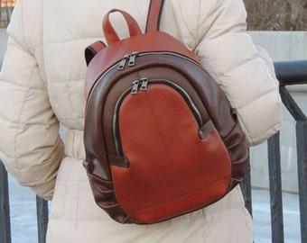 "Orange-brown leather backpack ""Simone"""