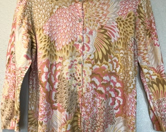 Yellow and pink floral cardigan sweater