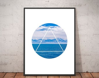 Ocean - Ocean Art - Triangle Print Art - Ocean Print - Triangle Art - Geometric Art - Water Wall Art - Ocean Decor - Water Print - Sea Art