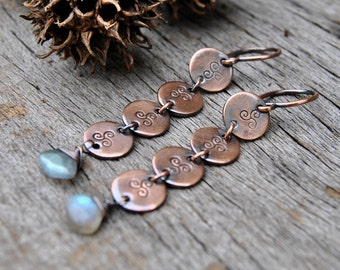 Labradorite Earrings, Dangle Earrings, Elegant Earrings, Copper Earrings, Gemstone Jewelry