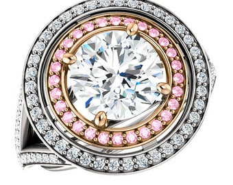 2.00 Carat (8mm) Round Forever One Moissanite & Pink Diamond Double Halo Engagement 14k or 18k Two Tone, Moissanite Wedding Rings for Women