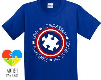 Captain America Themed Autism Shirt - Multiple Design Variations