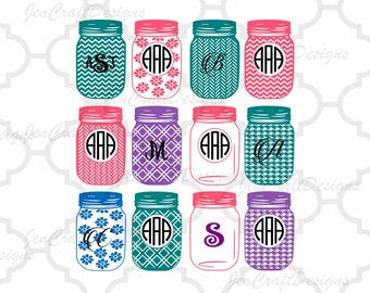 Mason Jar SVG EPS Png DXF, Monogram Frames svg, Cricut Design Space, Silhouette Studio, Digital Cut Files