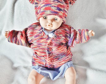 Baby cardigan and hat, baby jacket, jester hat, pom pom, clothing, layette, baby shower, outfit, sweater, Christmas gift