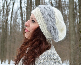 Slouchy knitted hat, Gray, natural white alpaca, merino wool hat, Warm accessories, Winter hat, Beanie hat, Handmade hat, Chunky knit hat