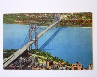 Linen postcard - George Washington Bridge  New York City Postcard / bridge postcard / New York City souvenir / NYC postcard  / Hudson River