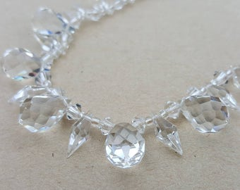 Vintage Art Deco 1930s White  Rock Crystal Icicle Necklace
