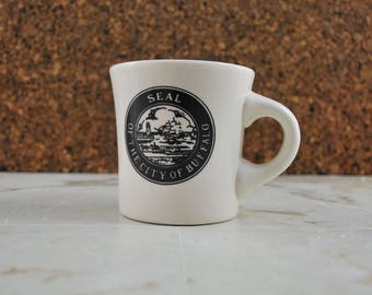 White Buffalo China Mug, City of Buffalo, Ceramic Coffee Mug, Oneida, Restaurantware, Promotional Restaurant Diner Mug, Buffalo NY New York