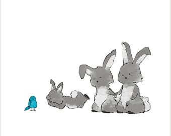 Rabbit Family Nursery Art Print, with Bluebird and Baby Rabbit