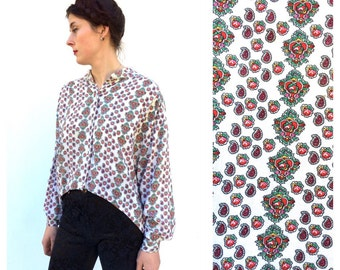 1980 s Naf Naf French Designer Fun Vintage Pasiley red and White Asymetrical Geometric Shirt