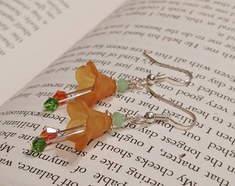 Pumpkin Earrings, Pumpkin Flower Earrings, Autumn Jewelry, Orange Flower Earrings, Orange, Green, Fall Jewelry, October Earrings, Halloween