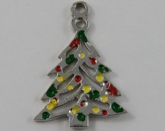Christmas Tree With Red, Green and Yellow Enamel Sterling Silver Vintage Charm For Bracelet
