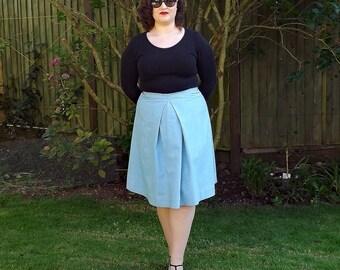 50s Style Skirt, Blue Skirt, Pleated Skirt, Cotton Skirt, Knee Length Skirt, A Line Skirt, Womens Skirt, Vintage Style Skirt, Skirt.