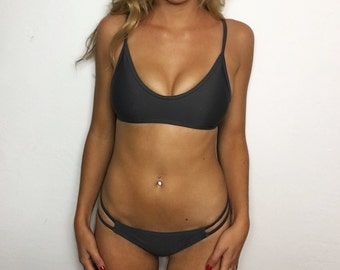 "Large ""Zuma"" Dark Grey Strappy Low Rise Brazilian Bikini Set (2 Piece Set)"