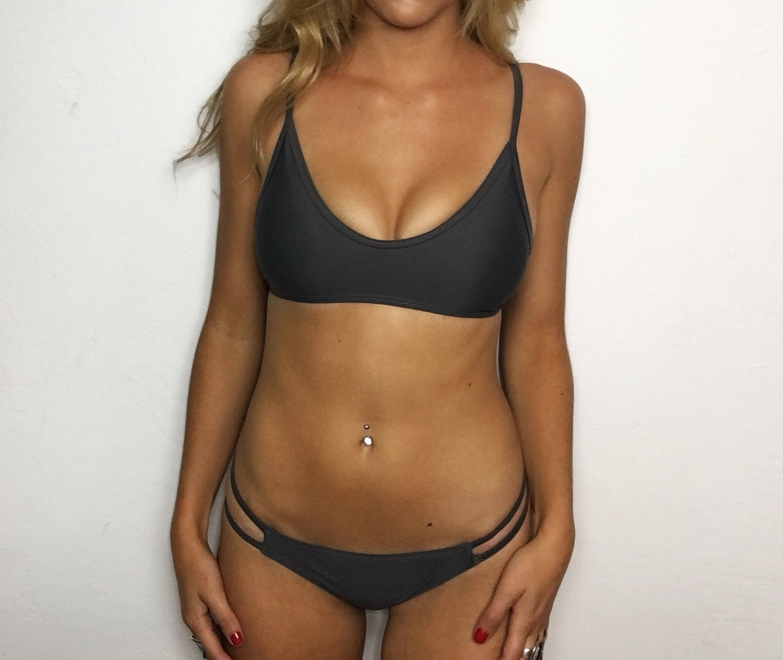 1597375d25e24 Large Zuma Dark Grey Strappy Low Rise Brazilian Bikini Set (2 Piece ...