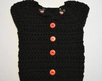 6 to 9 months Black Crochet Vest