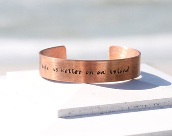 Life is Better On An Island Copper Jewelry - Beach Jewelry - Coastal Jewelry Gift - Wholesale Beach Jewelry - Wholesale Beach Gifts