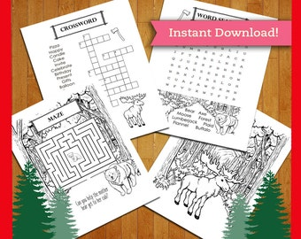 Lumberjack Printable Coloring Page and Activity Sheets Pack - Party Favors Birthday Decorations - Buffalo Bear Deer Moose Maze Wordsearch