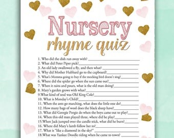 Baby Shower Game Nursery Rhyme Quiz - Pink Gold Hearts - Printable Digital Instant Download Stars Glitter Girl Pretty Baby glam shower DIY