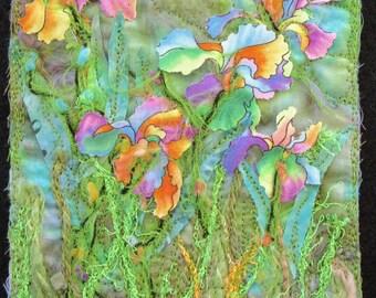 """Rainbow Iris Art Quilt, Spring Flower Quilt Art, Landscape Quilt, Flower Garden Quilt, Miniature Quilt, Home Decor, 5""""x7"""""""