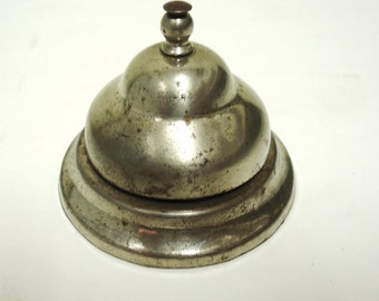service bell,vintage service desk bell,old metal table top ringer bell,store business service bell