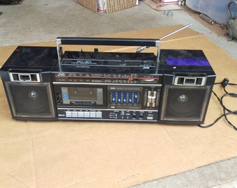 vintage boombox Jvc cassette player/recorder ghetto blasters,portable radio am fm,80s retro