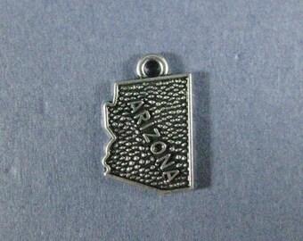 5 Arizona Charms - Arizona Pendants - State Charms - Arizona - Antique Silver - 13mm x 19mm  -- (A4-12176)