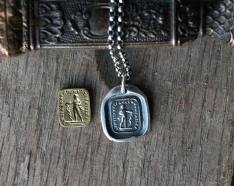 Figure with bow wax seal fine silver charm