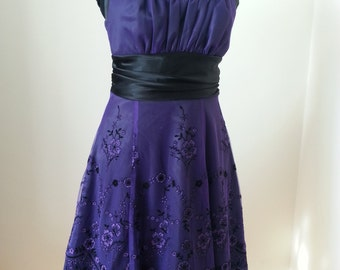 Purple Ballgown Prom Dress, Graduation  Dress, Embroidery Dress, Party Dress