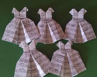Music Note Paper Dresses (set of 5)