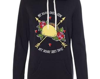 My Head Says Gym, My Heart Says Tacos Sweatshirt dress, Tacos long tunic sweatshirt, tacos tunic sweatshirt, sweatshirt with thumbholes