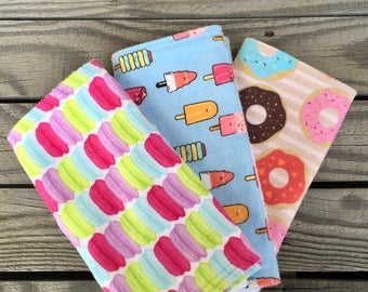 Burp Cloths, Baby Burp Cloths, Baby Shower Gifts, Unique Baby Gifts, Burp Clothes, Baby Girl Burp Cloths, Dessert Burp Cloths, Doughnuts