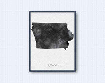 Iowa Map Watercolor Poster, United States Map Print, Gray Version