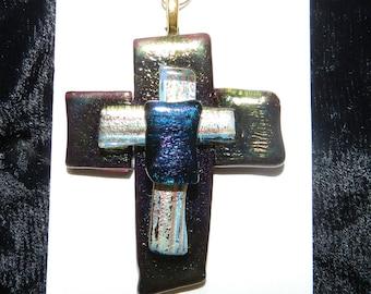 "Art Glass, Dichroic Glass Cross Pendant, Iridescent Metallic Glass, Around 2"" tall"