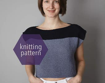 Knit Top, THE JUNIPER, Knit Crop Top, Knit Cotton Crop Top, Knitting Pattern >> Instant Download <<