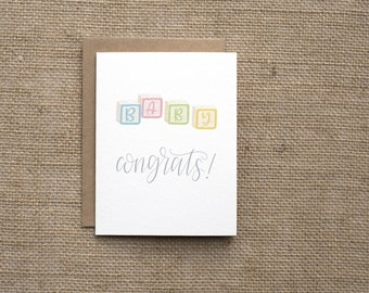 New Baby Card   Baby Shower Card   Congrats on Pregnancy/New Baby   Baby Blocks   Gender Neutral