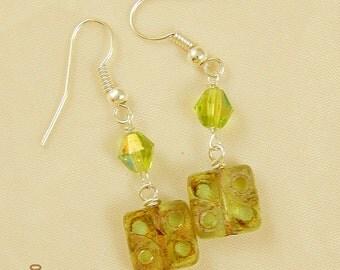 Chartreuse Green Czech Glass Beaded Dangle Earrings