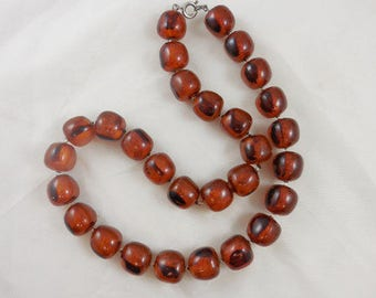 Vintage Lucite Marbled Translucent Chunky Beaded Necklace