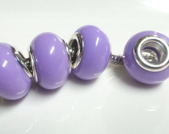 4 purple European charm, resin pearl, 4.5mm big hole, silver plated