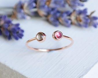 Tourmaline Ring, Rose Gold Ring, Birthstone Ring, Tourmaline Jewelry, Adjustable Ring, Quartz Ring, Cuff Ring, Open Ring, 9ct Rose Gold Ring