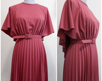 Long-Stemmed Rose Dress | vintage 70s pleated maxi dress with belt and batwing cape detail