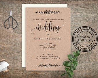 Rustic Wedding Invitation Cheap, Cheap Invitation, Wedding Invitation Printable, DIY Invitation Suite, DIY invitation suite, Kraft Wedding